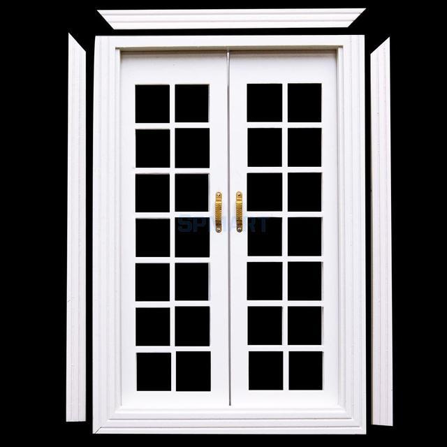 Smart 1/12 Dollhouse miniatura de madera exterior puerta francés ...