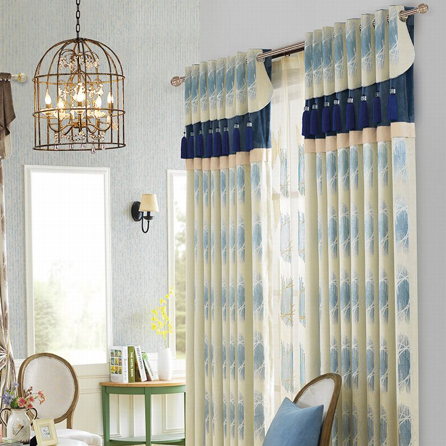 Black out curtains elegant valance curtains beaded valance curtains - Elegant Pastoral Tassel Window Blackout Curtain For Living Room Bedroom Villa Cashmere Imitation Flannel Jacquard Blue