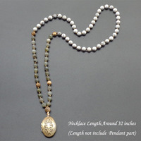 Retro Flowers Locket Necklace Natural Stone Mala Beads Necklace Yoga Jewelry Long Necklace For Women Free