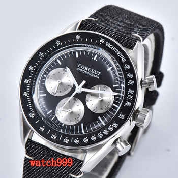 Corgeut 40mm Full Chronograph Stainless Steel Men's Watch Quartz Business Watch 316L stainless steel case with black bezel
