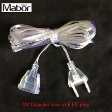 Mabor 5 м удлиненный провод EU Plug 220 V для Светодиодный Струны для дома и сада Decotation