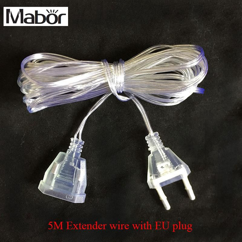 Mabor 5M Extended Wire EU Plug 220V For LED Strings Home Garden Decotation