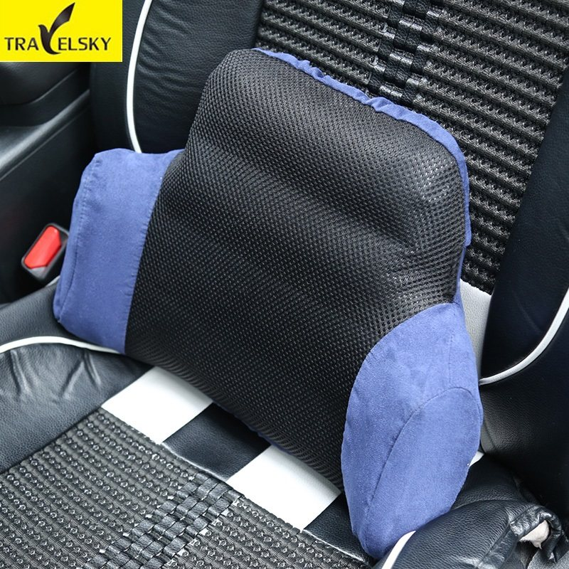 Travelsky Newest travel car use PVC lumbar cushions Portable breathable large valve inflatable waist cushion for home rest use