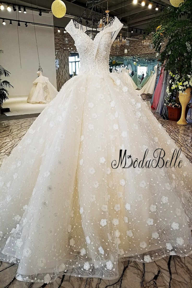 ae61f293fee65 ... modabelle 2018 Beads Flower Wedding Dress Ball Gown Fashion Off The  Shoulder Robe Mariage Princesse Shipping ...