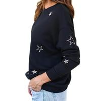 Stars Printed Pullovers Top 2019 Autumn Women Long Sleeve O neck Loose Black Casual Tee Shirts Female Print T Shirt Blusas