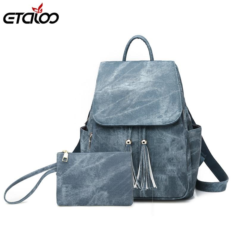 Women Waterproof Leather Backpacks Female Rucksack School Backpack Girls Fashion Travel Bag Bolsas Mochilas Sac A Dos 2pc/Set