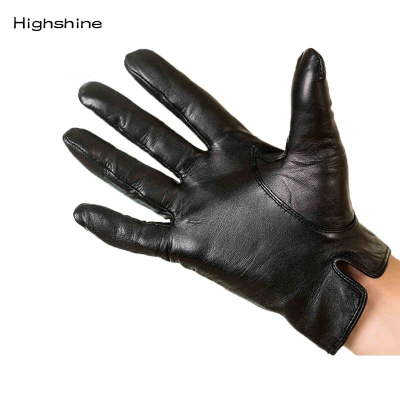 HIGHSHINE Men's Genuine Leather Gloves Real Sheepskin Black Touch Screen Gloves Button Fashion Brand Winter Warm Mittens New