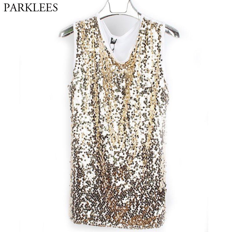 Men Sequins T-Shirts Casual Daily Wear Disco Party Club Wear Slim Fit Tank Top