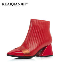 KEAIQIANJIN Woman Genuine Leather High Boots Plus Size 33 – 42 Red Black Ankle Boots Zipper Plush Square Toe Autumn Winter Shoes