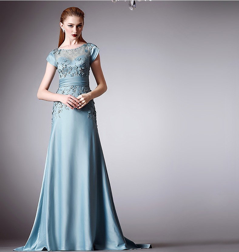 Aqua Blue Evening Dresses 2016 Short Sleeve Gala Dress Vestidos De Festa Para Casamento Flower Event Dresses for Women 7151523
