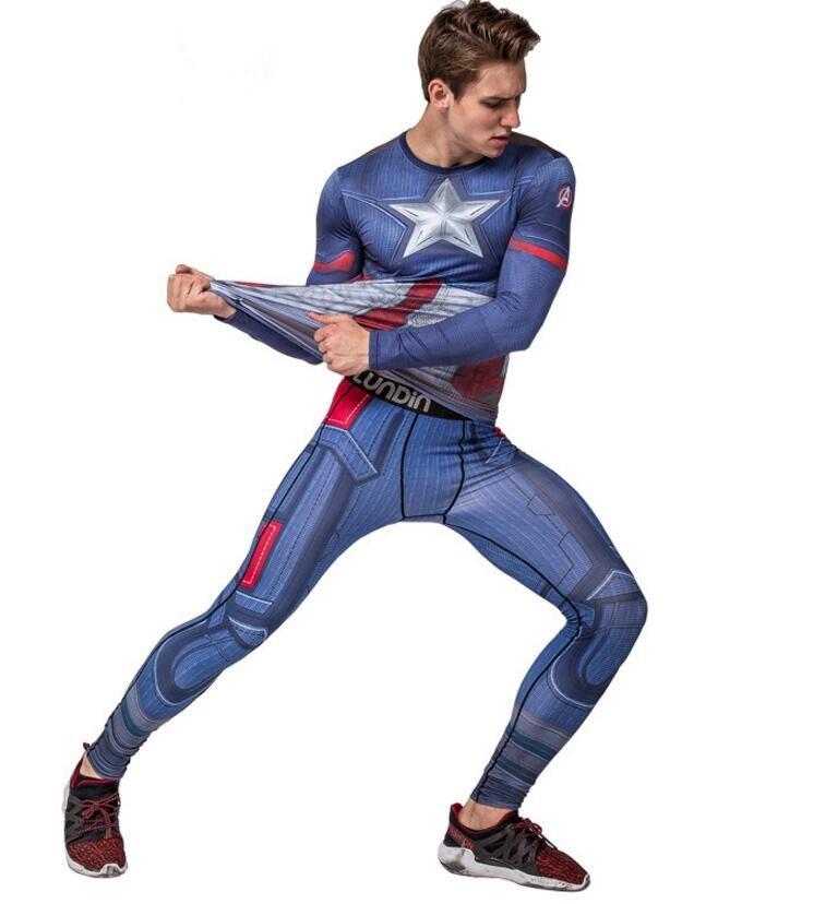 font b Men s b font Compression Run jogging Suits Clothes Sports Set Long t