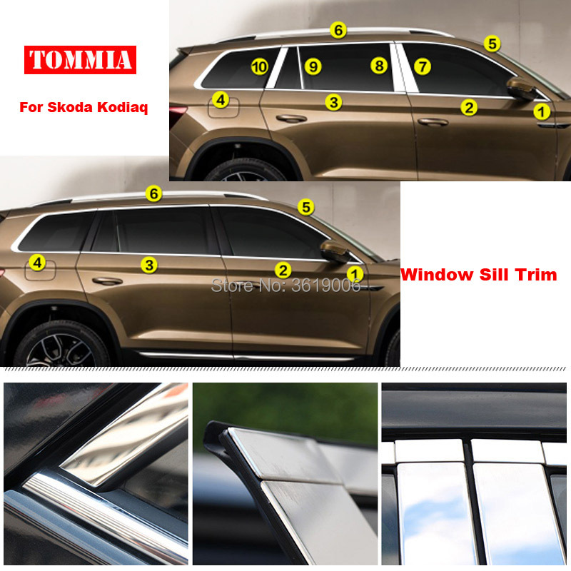 TOMMIA Full Window Middle Pillar Molding Sill Trim Chromium Styling Strips Stainless Steel For Skoda KODIAQ for renault koleos 2008 2012 stainless steel complete window sill belt trim windows molding trims glass strips car styling