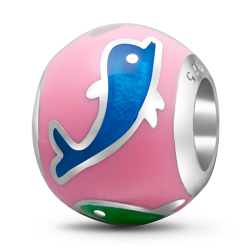 Sambaah High Class Enamel Jumping Dolphin Charms 925 Sterling Silver Playful Dolphin Beads for Original Pandora Animal Bracelet in Beads from Jewelry Accessories