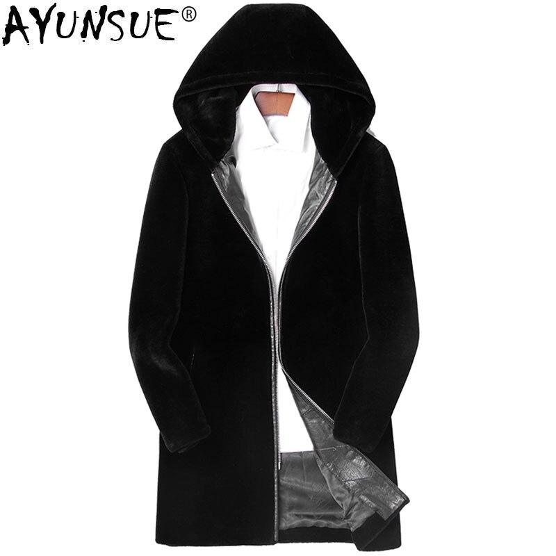 AYUNSUE Natural Sheep Shearling Fur Coat Winter Jacket Men Real Wool Fur Coat Hooded  Warm Coats And Jackets 12CHA180801Y MY752