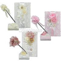 3Colors Wedding Signature Guest Book+Pen Stand Set with Satin Bows Lace Pearls Flowers for Ceremony Party Supplies Wholesales