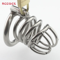 Male Chastity Device with Arc-Shaped Cock Ring Stainless Steel L size Penis Bondage Cage
