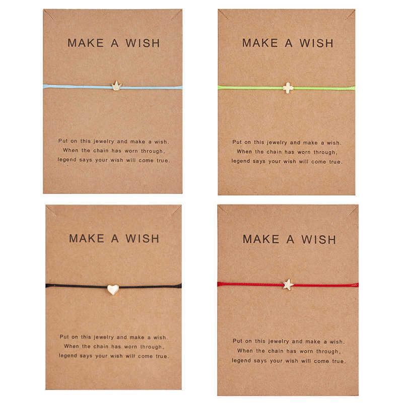 Rinhoo 1PC משאלה כרטיס לוח פשוט לב כוכב צלב גיאומטרי תליון צמיד לנשים של גברים של תכשיטים מתנה