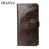 Men Wallets High Quality Wallet Genuine Oil Wax Cowhide Leather Men Long Bifold Wallet Purse Vintage
