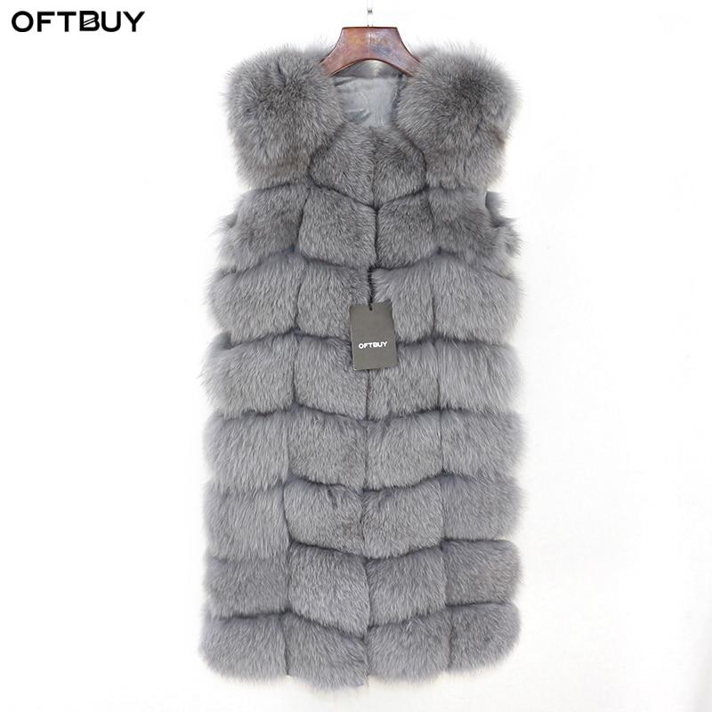 OFTBUY Ladies Spring Winter Autumn Long Real Fox Fur Vest Jacket Women Sleeveless Natural Fox Fur Gilet Streetwear Thick Warm