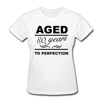 Women S Aged 80 Years To Perfection Happy 80th Birthday Vintage Short Sleeve T Shirt Unique