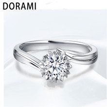 Dorami 0.5carats Snow ring 925 silver for women Simulation diamond for Wedding Party ring classic finger Jewelry High quality