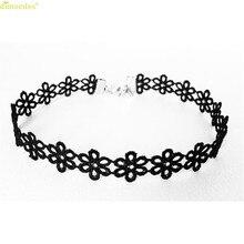 HOT Brand Fashion Woman Vintage Black Lace Sunflower Tattoo Gothic Necklace Choker 102510##418(China)