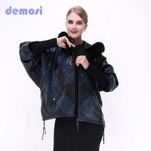 European American Suede real Leather sheepskin coat women stitching loose large size jacket bat shirt Hooded Fall fox fur collar