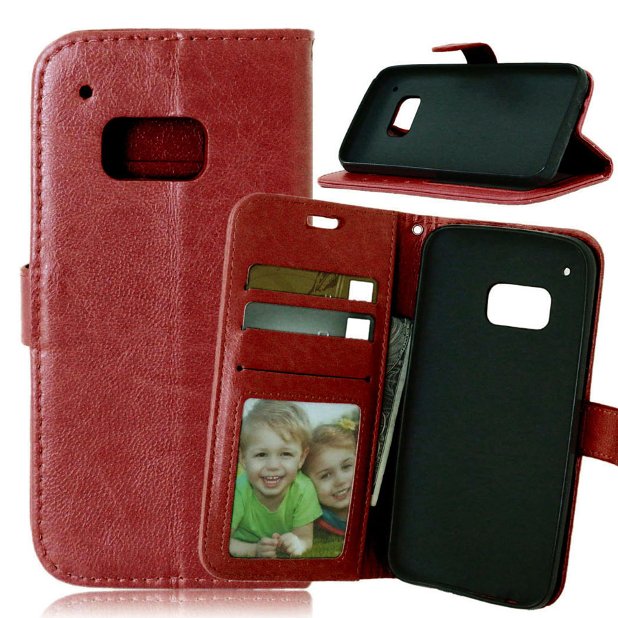 PU Leather Photo Frame Wallet Case For HTC One M9 Flip with Stand Design and Card Slot Hot