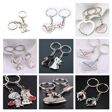 Hot Sale 2Pcs/set Couple Keychain Love Heart Keyring Fashion Key Ring Gift For Kids Friends