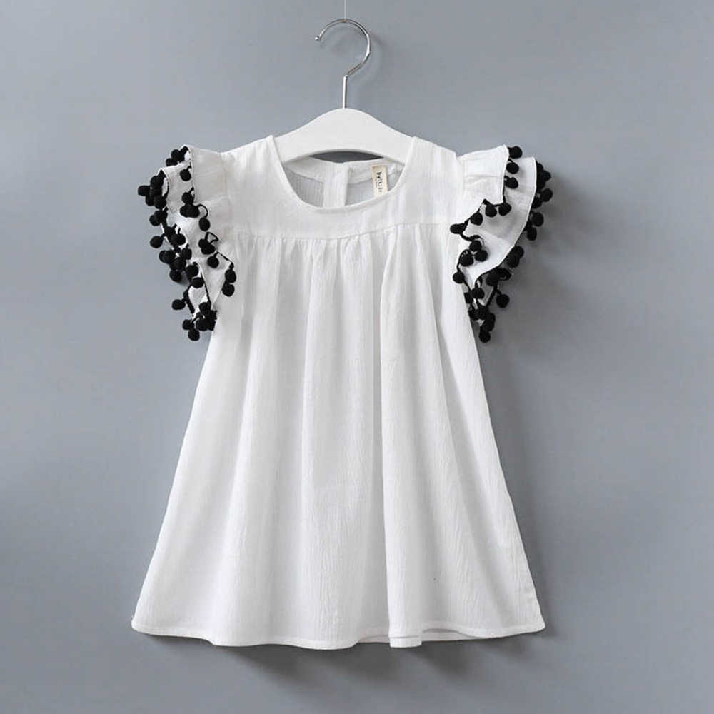 ديزني الفتيات فستان صيفي الأزياء كشكش كم فساتين القطن الاطفال الملابس فستان صيفي es من دارى الفتيات