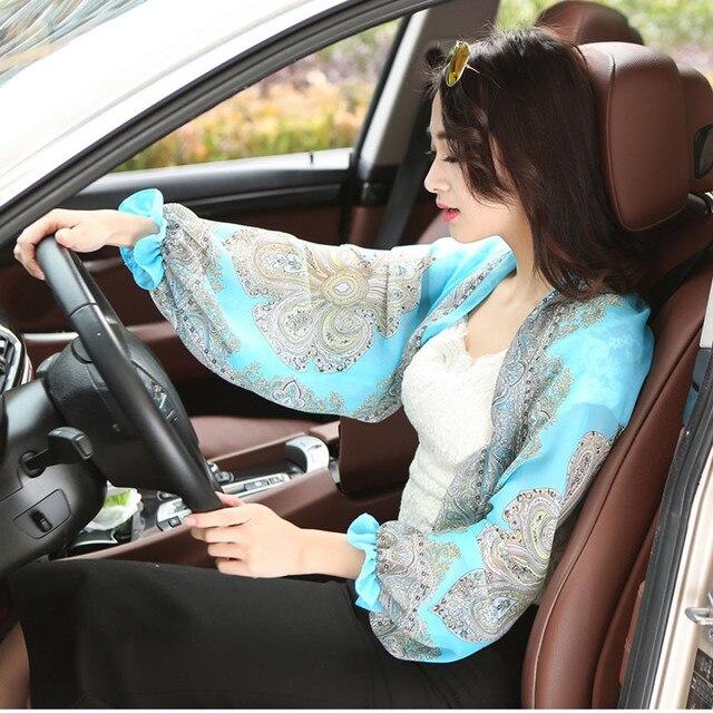 2019 verano otoño Sun Cuff bufanda gasa alta calidad impreso seda bufanda moda coche Shroud sol chal salvaje bufanda playa sjaals