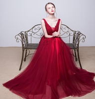 Vestido Formatura2018 Sexy V Neck Lace Pearl Aline Burgundy Black Silver Turquoise Prom Dresses Long Cheap