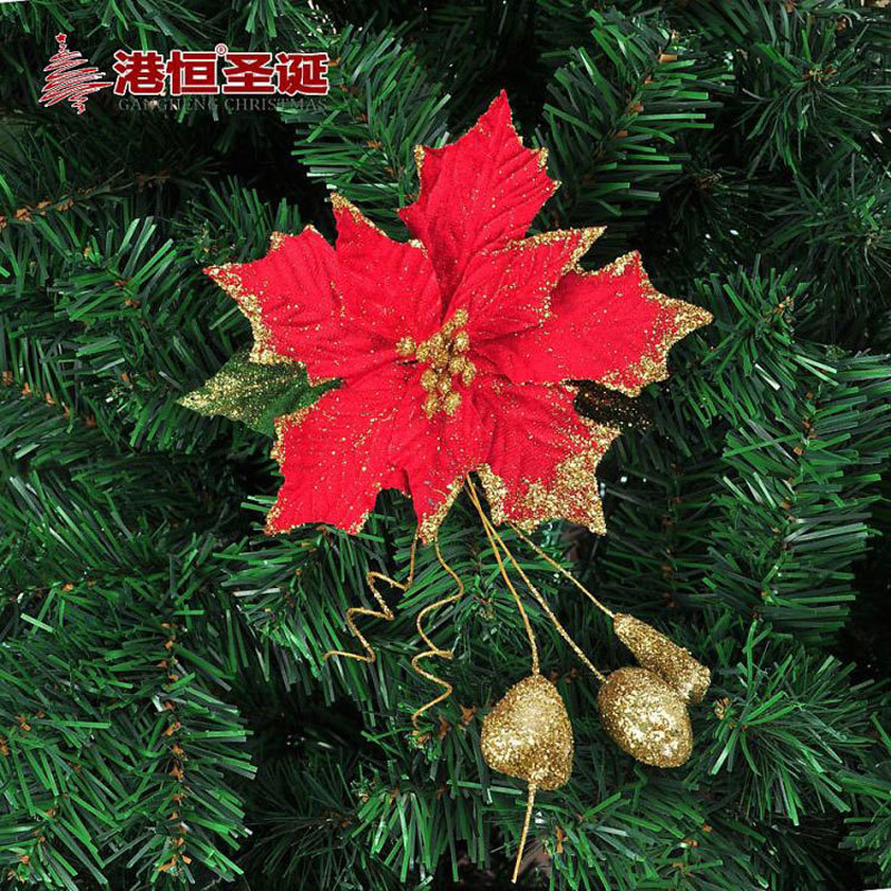 gold red christmas flowers decoration pvc christmas tree decorations ornament shining plastic decoration flowers for party in christmas from home garden