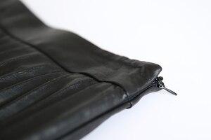 Image 5 - RYS7360 kadınlar 2020 zarif moda tam uzunluk hakiki deri 75cm uzun pilili etek bayan Nappa sokak siyah Jupe faldas Mujer