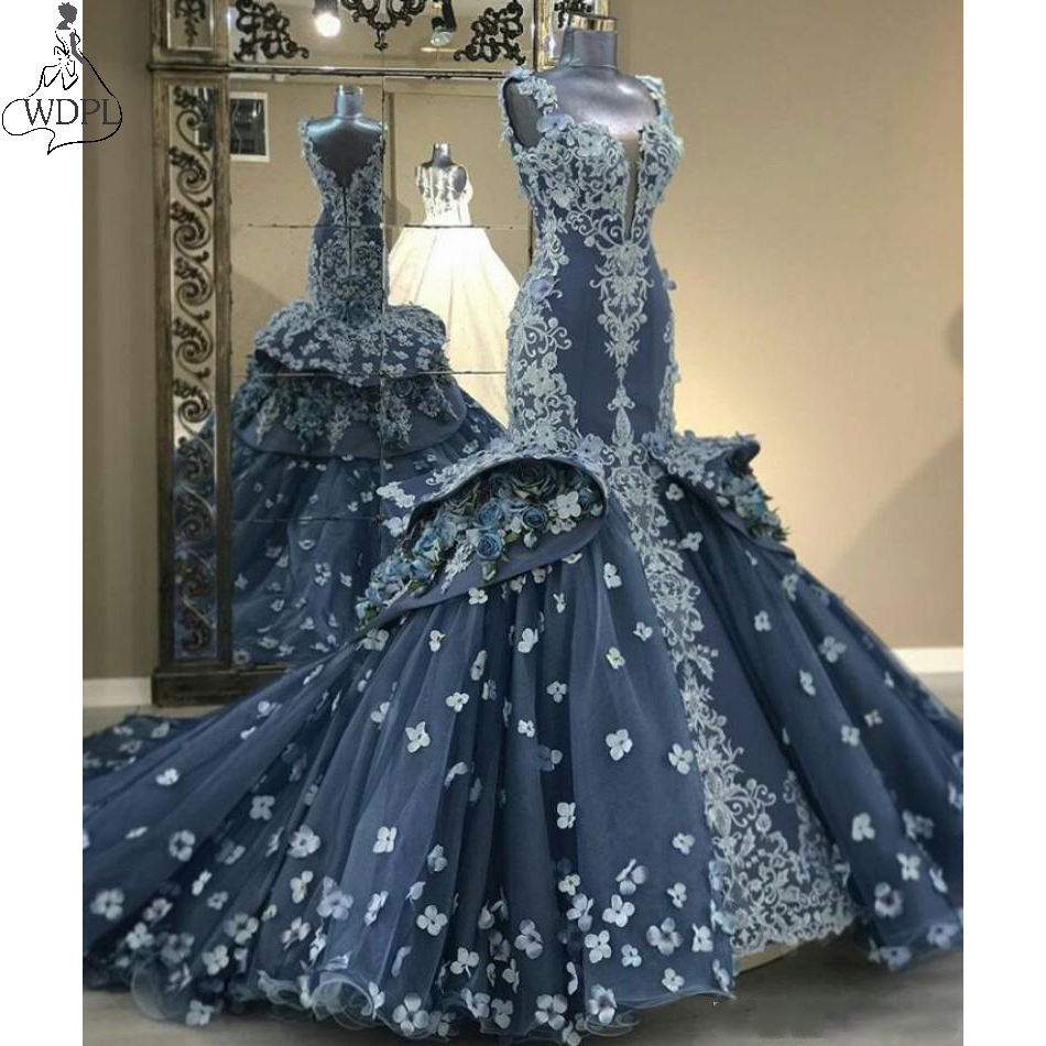 Gorgeous Mermaid   Prom     Dresses   2019 V Neck Lace Appliqued Ruffles Evening   Dress   Custom Made Robe de soiree Special Occasion Gowns
