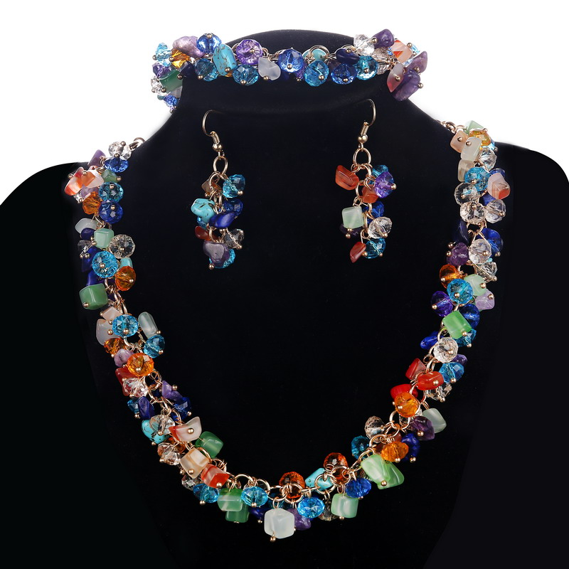 Hesiod 8colors Bib Chunky Choker Collar Necklace Earrings Bracelet Set Natural Stone Wedding Jewelry Sets Cz Beads