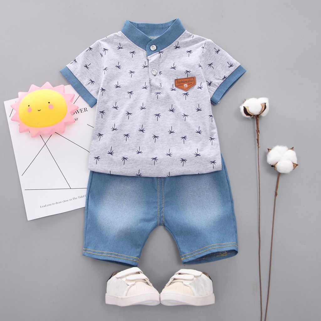 MUQGEW/Одежда для маленьких девочек рубашка с короткими рукавами и рисунком дерева комплект из топа и джинсовых штанов, одежда для маленьких мальчиков, одежда для новорожденных