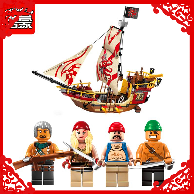 ENLIGHTEN 1311 Pirate Ship Dragon Boat Building Block 368Pcs DIY Educational  Toys For Children Compatible Legoe купить дешево онлайн