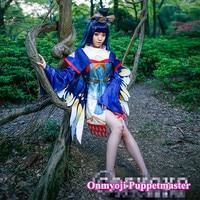 Аниме! Заклинатель Puppetmaster золотой крылья бабочки Танцы кожи кимоно равномерное Косплэй костюм для Для женщин Бесплатная доставка