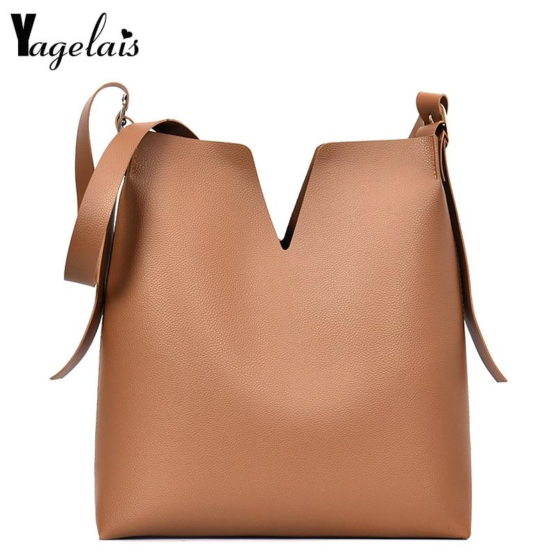 New Lady Composite Bag Soft Leather Handbags Single Strap Shoulder Bags Fashion Crossbody Bags V Fashion Womens Casual Tote
