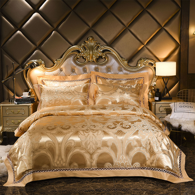 Golden Luxury Jacquard Satin Duvet Cover Bed Sheet Linen Pillowcases 4pcs Tencel Bedclothes Bedding Set Wedding Home Decoration
