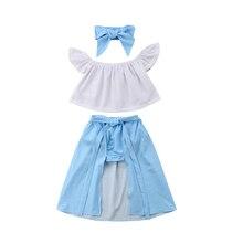 4pcs Kids Girls Set Lace Off shoulder Crop Shirt Tops Polka Dot Shorts Skirt Headband Party Outfits Clothes Set 2019