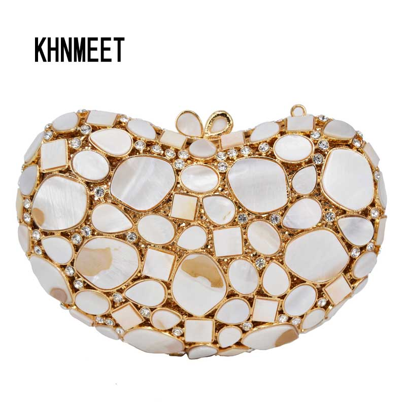 Fashion Shell patch Crystal Evening Clutch Bag With Chain Women Wedding Party bag White Black Female