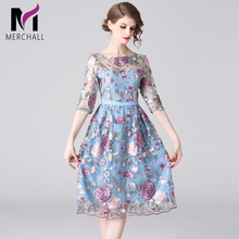 Merchall High Quality 2019 Summer New Runway Dress Womens Long Sleeve Elegant Party Vintage Mesh Floral Embroidery