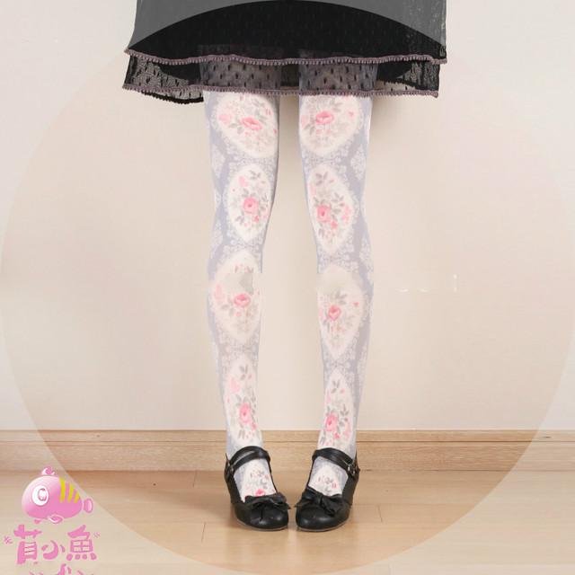 Princesa dulce pantimedias lolita Japonés muchacha elegante Princesa Rosa de Terciopelo medias bk05