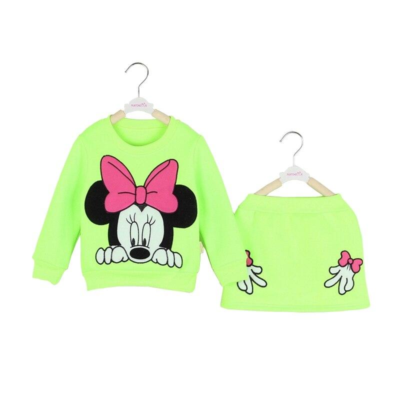 New 2-6T children girls clothing sets spring autumn minnie mouse kids long sleeve sets cotton fleece shirt top +midi skirt