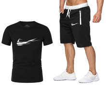 2019 new men's suit beach shorts men's / women's brand clothing two-piece shorts sportswear fashion casual suit hot LOGO