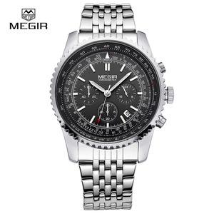 Image 1 - MEGIR fashion mens quartz wristwatch  mens luxurious business waterproof watch 2008 free shipping