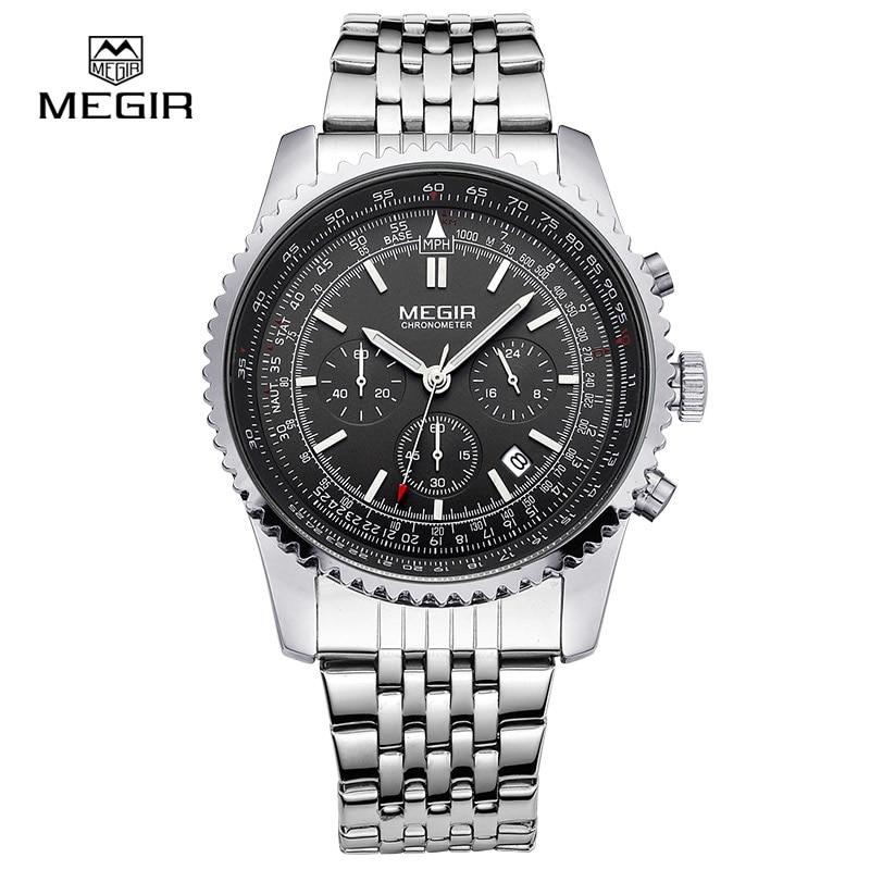 3cd72ef70 Megir أزياء رجالي كوارتز ساعة اليد رجال الأعمال الفاخرة للماء ووتش 2008  الشحن مجانا