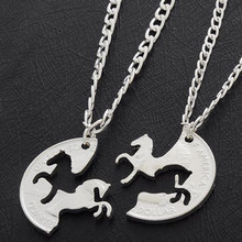 2PC Running Horses Puzzle Coin Charm Animal Best Friend Couple Love Lovers Gifts Friendship Pendant Necklaces Women Men(China)
